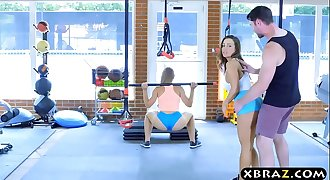 Gym babes with stacked bods threesome with a trainer