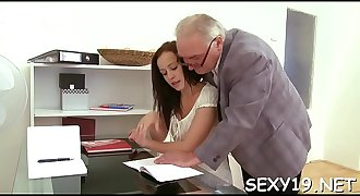 Older teacher is getting his hard male rod delighted
