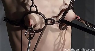 Electro Bondage & Discipline and feet punishment of slave Elise Graves in dungeon tit torture an