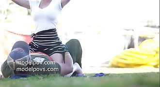 Alabina 18 year old teen all natural DD boobs models for modelpov outside at park gets felt almost fucked in public MUTED for privacy